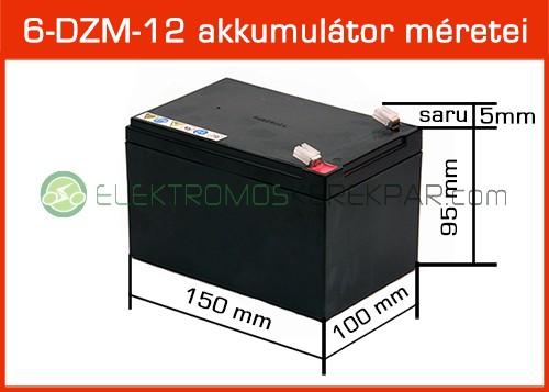 6-DZM-12 zselés akkumulátor méretei