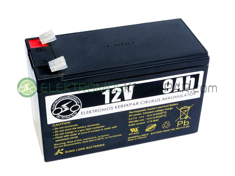 Image of 12V 9Ah elektromos kerékpár akkumulátor (6-DZM-9)