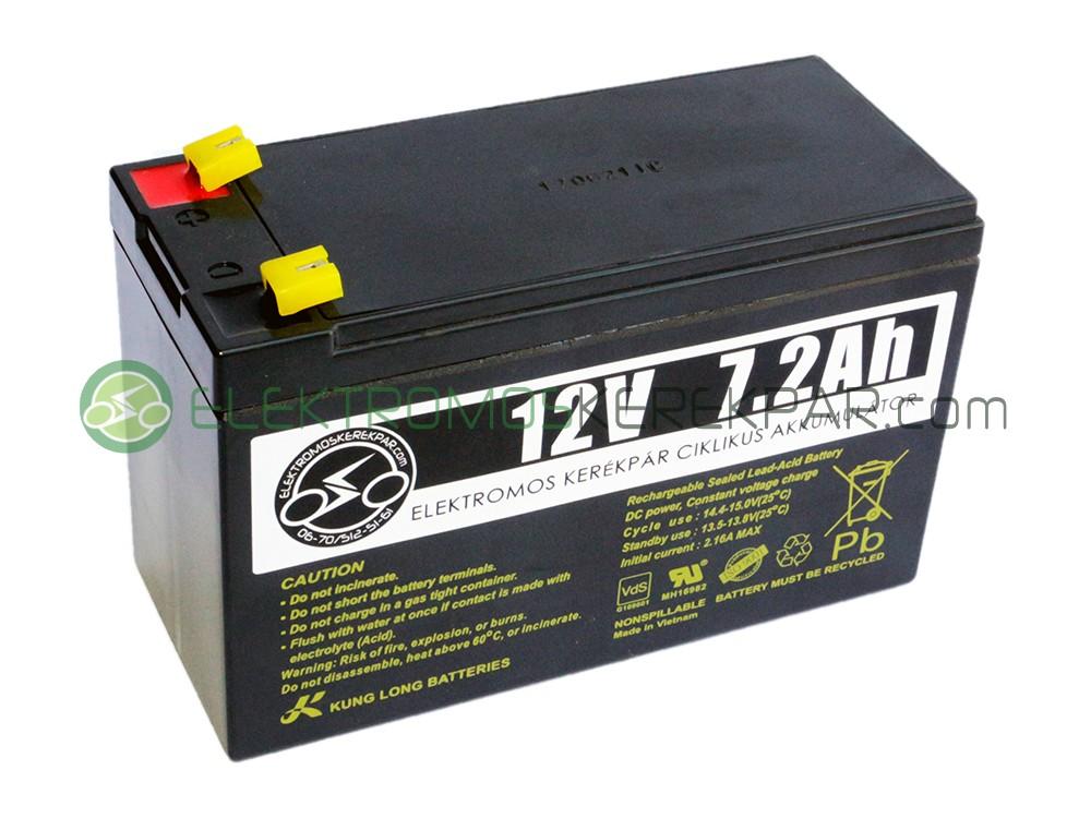 Image of 12V 7Ah elektromos kerékpár akkumulátor (6-DZM-7)